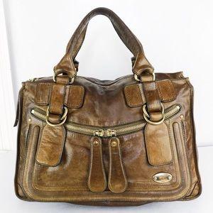 Chloé XL Distressed Olive Tan Leather Bay Satchel